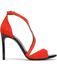 Lanvin - Woman Suede Sandals Tomato Red Size 37 - Lyst