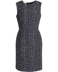 Oscar de la Renta - Embellished Bouclé-tweed Dress Midnight Blue - Lyst