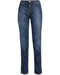 Love Moschino - Printed High-rise Slim-leg Jeans Dark Denim - Lyst