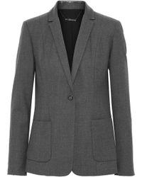Elie Tahari - Wendy Snake-effect Leather-trimmed Wool-blend Twill Blazer - Lyst