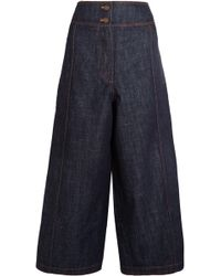 KENZO - Cropped High-rise Wide-leg Jeans - Lyst