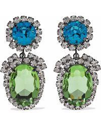 Kenneth Jay Lane - Woman Gunmetal-tone Crystal Clip Earrings Multicolour - Lyst
