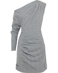 W118 by Walter Baker - Lindsey One-shoulder Prince Of Wales Checked Woven Mini Dress - Lyst