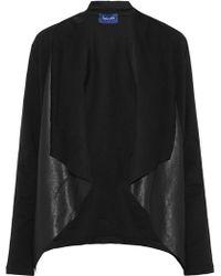 Splendid - Faux Leather-paneled Draped Cotton-blend Jacket - Lyst