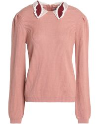 RED Valentino - Convertible Ribbed Wool Sweater Antique Rose - Lyst