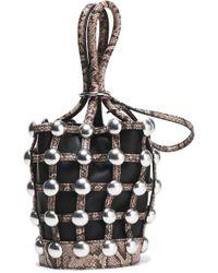 Alexander Wang - Roxy Studded Snake-effect And Smooth Leather Bucket Bag Animal Print - Lyst