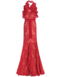 Marchesa notte - Split-front Ruffled Corded Lace Halterneck Gown - Lyst