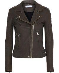 IRO - Woman Leather Biker Jacket Dark Brown - Lyst