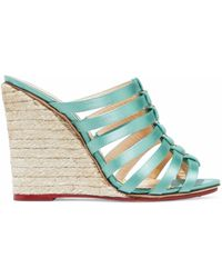 Charlotte Olympia - Woman Cutout Silk-satin Espadrille Wedge Mules Mint - Lyst