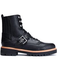 Sigerson Morrison - Ida Buckled Textured-leather Boots - Lyst