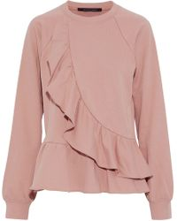 W118 by Walter Baker - Galina Ruffled Cotton-blend Terry Sweatshirt Antique Rose - Lyst