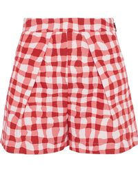 MSGM - Pleated Gingham Cotton-faille Shorts - Lyst