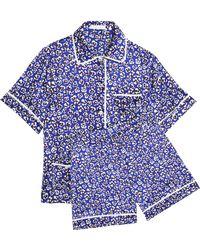 Olivia Von Halle - Millicent Floral-print Silk-satin Pyjama Set Royal Blue - Lyst
