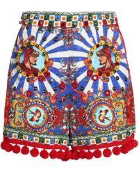 Dolce & Gabbana - Embellished Printed Jacquard Shorts - Lyst