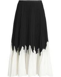Raoul - Betty Two-tone Pleated Crepe Midi Skirt - Lyst