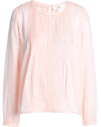 Vanessa Bruno Athé - Lace-trimmed Pintucked Poplin Blouse Baby Pink - Lyst
