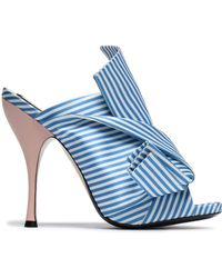 N°21 - Woman Knotted Striped Satin Mules Azure - Lyst