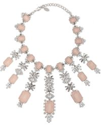 Elizabeth Cole - Woman Silver-tone Crystal Necklace Pastel Pink Size -- - Lyst