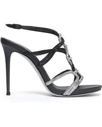 Rene Caovilla - Crystal-embellished Metallic Leather Sandals - Lyst