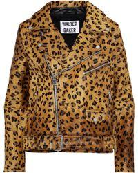 W118 by Walter Baker - Woman Lonnie Leopard-print Calf Hair Biker Jacket Animal Print Size L - Lyst
