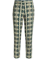 Etro - Printed Crepe Tapered Trousers - Lyst
