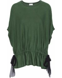 RED Valentino - Silk Georgette-paneled Wool, Silk And Cashmere Top Army Green - Lyst