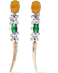Iosselliani - Woman Burnished Gold-tone, Agate And Crystal Earrings Saffron - Lyst