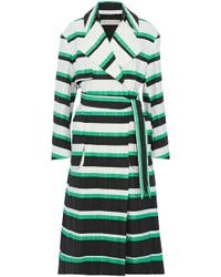 Emilio Pucci - Striped Crinkled Cotton And Silk-blend Coat - Lyst