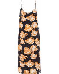 Ganni - Geroux Printed Washed-silk Slip Dress - Lyst