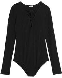Splendid - Lace-up Ribbed-knit Bodysuit - Lyst