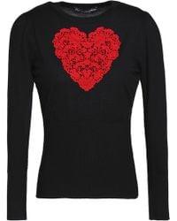 Dolce & Gabbana - Lace-appliquéd Wool Sweater - Lyst