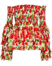 Caroline Constas - Alessandra Off-the-shoulder Shirred Printed Silk Top - Lyst