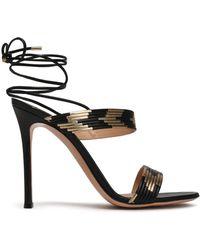 Gianvito Rossi - Woman Suni Matte And Metallic Leather Sandals Black - Lyst