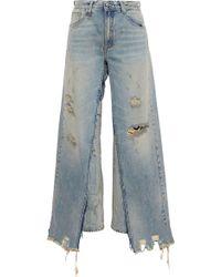 R13 - Sashah Layered Distressed High-rise Straight-leg Jeans Light Denim - Lyst