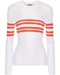 MSGM - Striped Ribbed-knit Sweater - Lyst