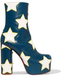 Vetements - Appliquéd Leather Platform Ankle Boots Storm Blue - Lyst