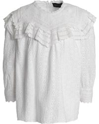 Needle & Thread - Ruffled Broderie Anglaise Cotton Blouse - Lyst