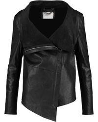 Muubaa - Jersey-trimmed Leather Biker Jacket - Lyst