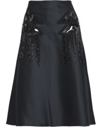 Versus - Fluted Embellished Duchesse Satin Skirt - Lyst