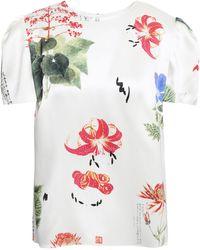 Adam Lippes Floral-print Silk-satin Blouse Ivory