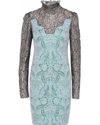 Lanvin - Metallic Lace-paneled Brocade Dress - Lyst