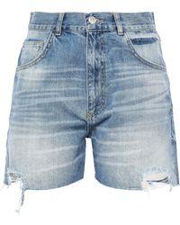 Anine Bing Distressed Denim Shorts Mid Denim