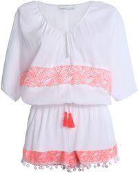 Heidi Klein - Tasselled Embroidered Cotton-gauze Playsuit - Lyst