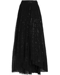 Brunello Cucinelli - Sequined Silk-georgette Maxi Skirt - Lyst