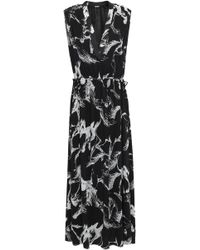 Adam Lippes - Gathered Printed Crepe Maxi Dress Black - Lyst