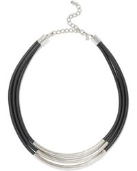 Kenneth Jay Lane - Silver-tone Faux Leather Necklace - Lyst