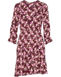 Anna Sui - Lace-trimmed Printed Crepe Mini Dress - Lyst