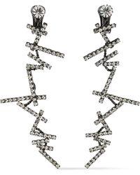 Kenneth Jay Lane - Woman Gunmetal-tone Crystal Clip Earrings Gunmetal - Lyst