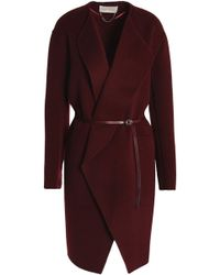 Vanessa Bruno - Leather-trimmed Wool And Cashmere-blend Felt Coat - Lyst