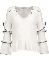 10 Crosby Derek Lam - Ruffled Ribbed Cotton Sweater - Lyst